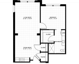 APT G - 750 SF, ONE BEDROOM
