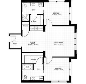 APT H - 926 SF, TWO BEDROOM
